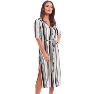 Fashion Union Striped Button Up Midi Tunic Dress